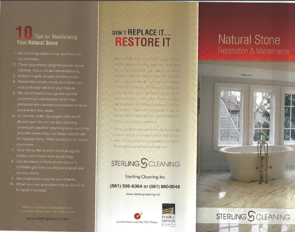 Natural Stone Cleaning Services - Palm Beach Florida Brochure