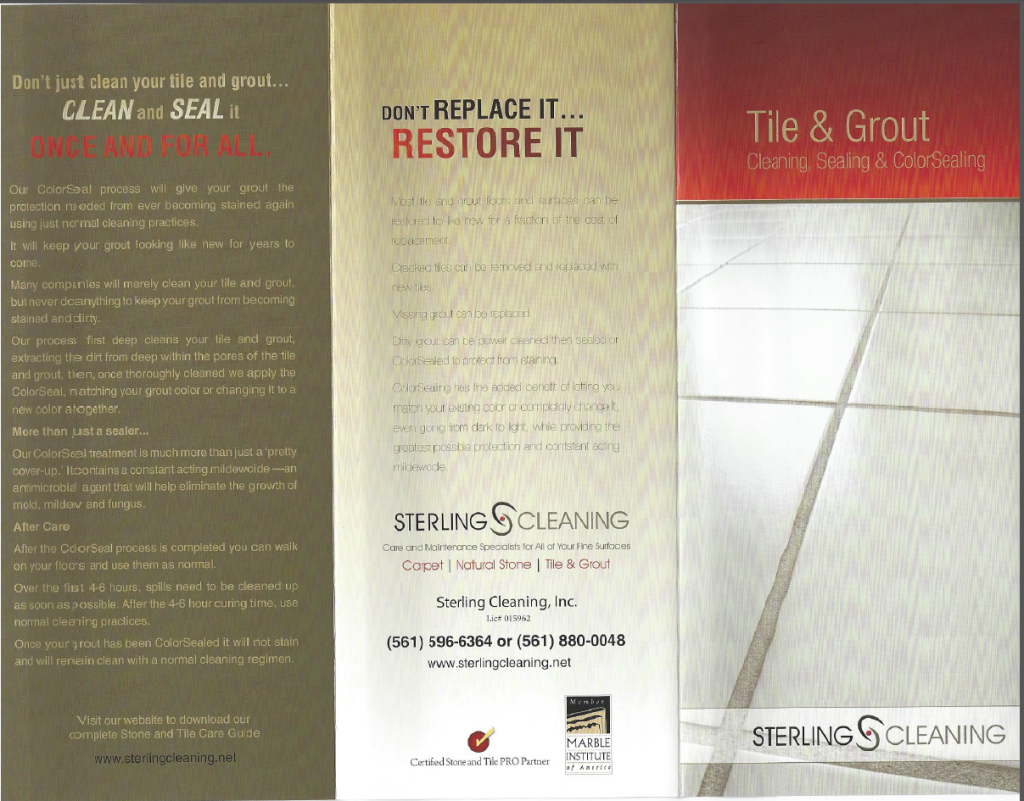 Tile and Grout Cleaning Services - Palm Beach Florida Brochure
