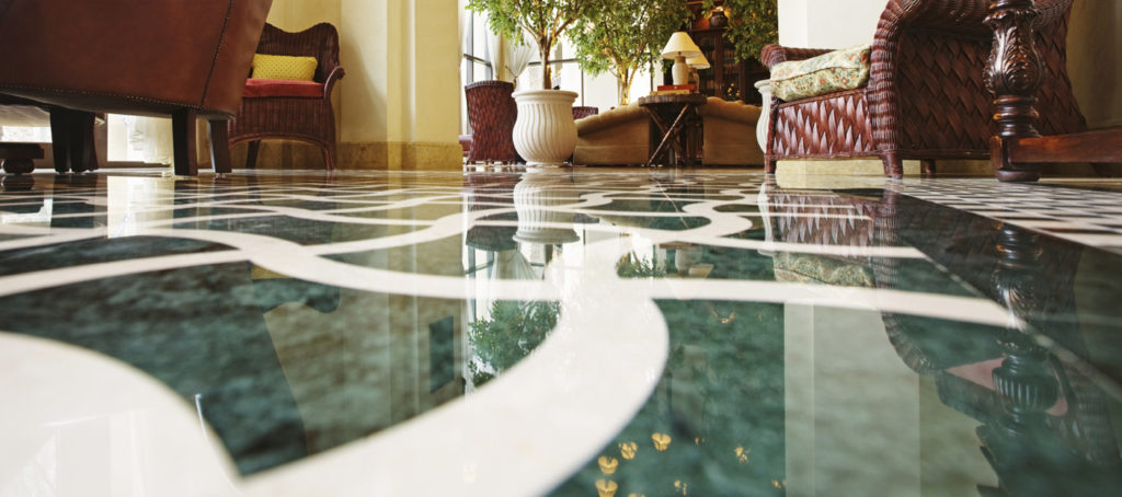 Interior of a hotel lobby